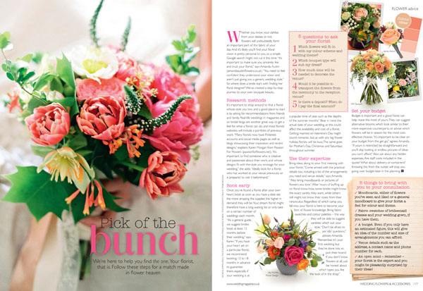how to choose your wedding florist Passion for Flowers featured in Wedding Flowers Magazine July 2014