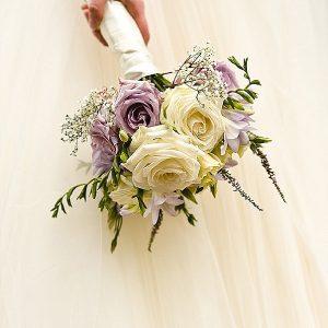 mallory court wedding purple bouquets flowers