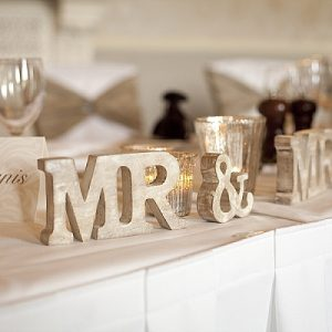 mr and mrs wooden sign wedding top table walton hall