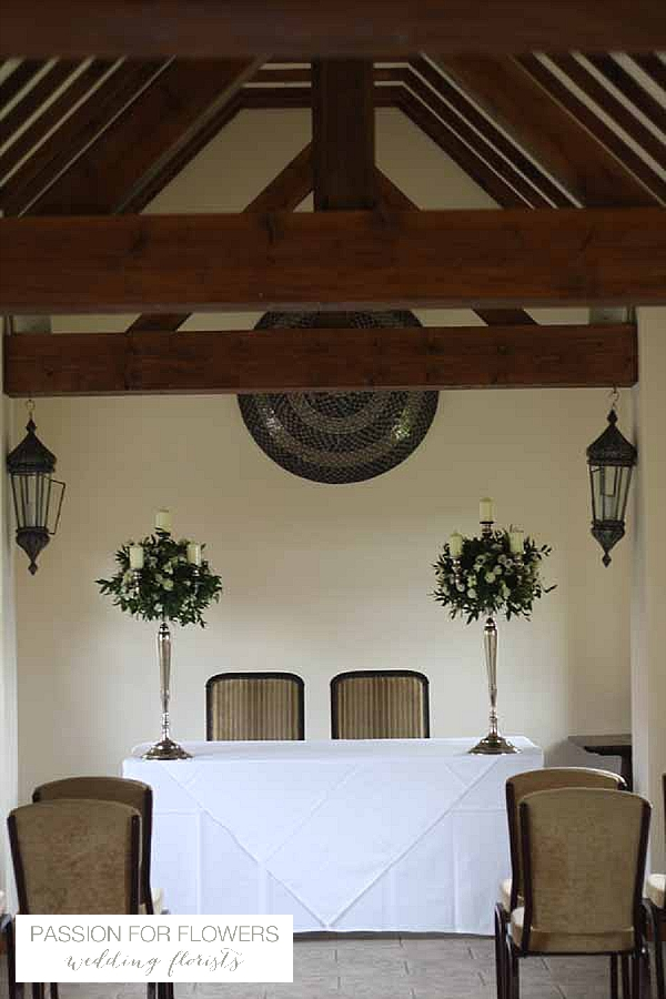 nuthurst grange wedding flowers ceremony candelabra