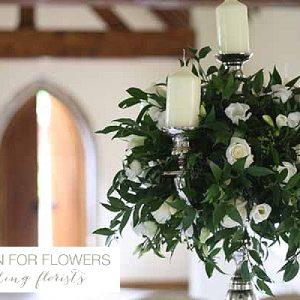 nuthurst grange wedding flowers candelabra
