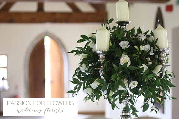 nuthurst grange wedding flowers candelabra