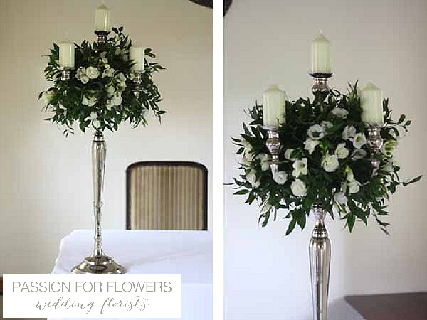 nuthurst grange wedding ceremony flowers candelabra