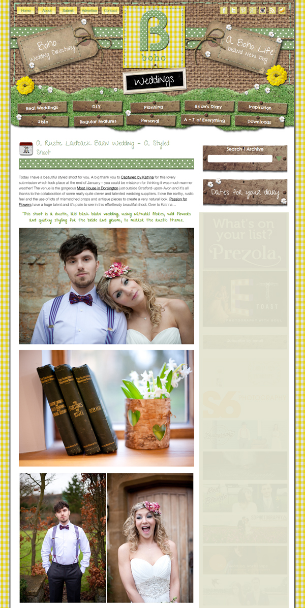 rustic wedding shoot at the moat house featured on boho weddings