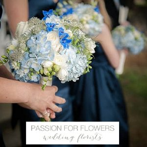 sandon hall blue wedding flowers