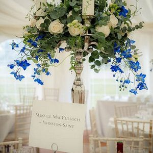 sandon hall wedding centrepiece flowers candelabra