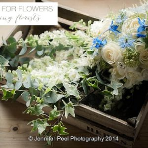 trailing blue bridal bouquets