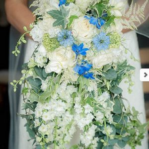 blue bridal bouquets trailing