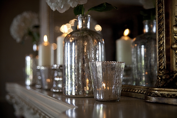 walton hall wedding fireplace decorations mercury silver vases candle holders