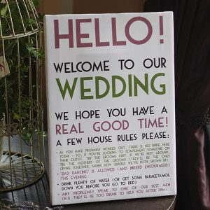 walton hall wedding sign