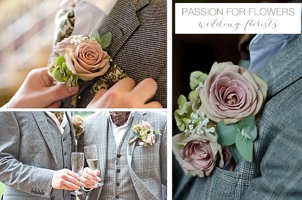dusky pink rose buttonholes