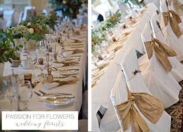 walton hall wedding flowers hessian chair backs