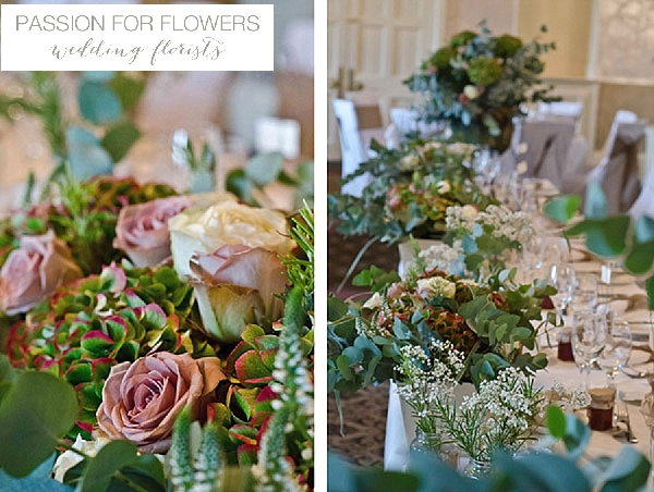 walton hall wedding centrepeice flowers