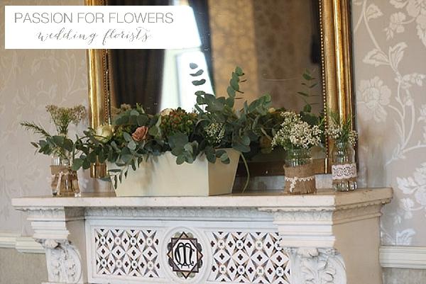 walton hall wedding mantle piece  flowers