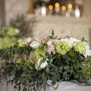 walton hall wedding flowers ceremony tables green wedding flowers