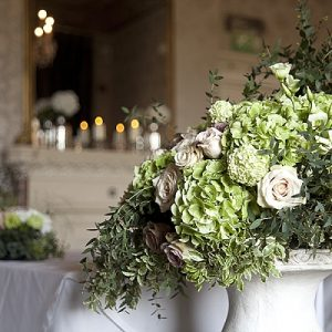 walton hall wedding flowers stone urn green flowers wedding ceremony passion for flowers