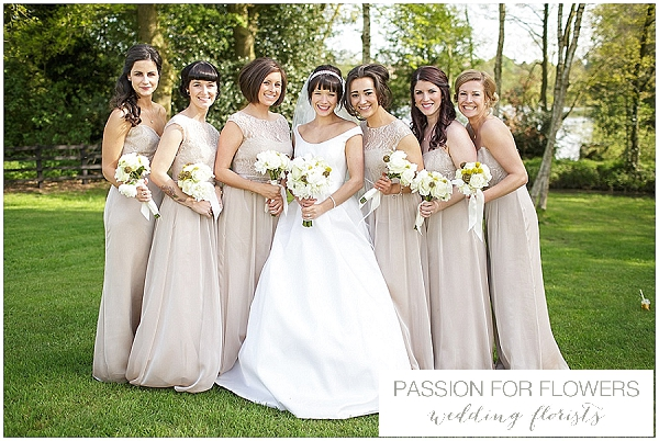white wedding bouquets taupe bridesmaids dressed