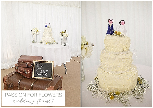 white & yellow wedding cake flowers