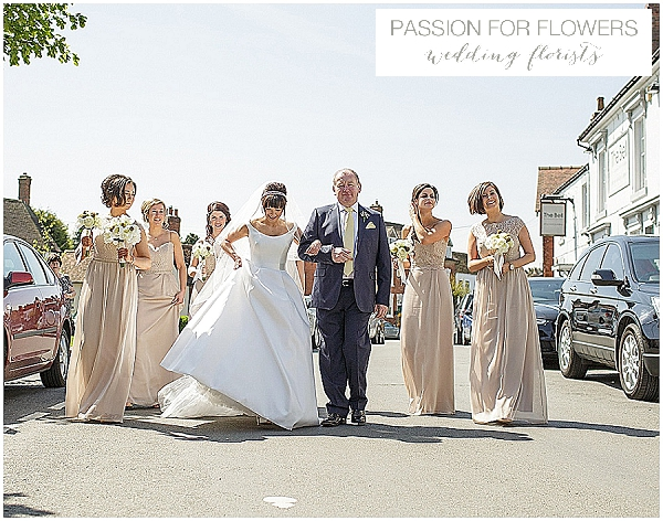 white & yellow wedding flowers taupe bridesmaids