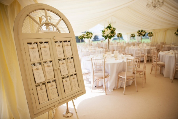 wooden window shutter table plan for weddings