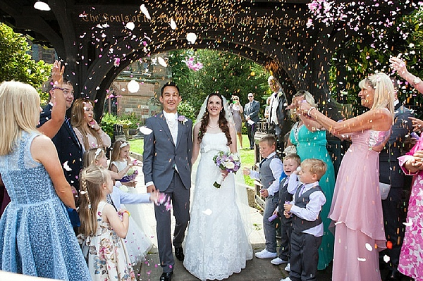 confetti petals thow at church wedding