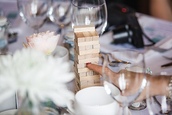 jenga games on wedding guest tables ice breakers