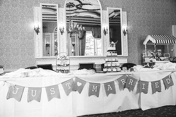 just married bunting on dessert table