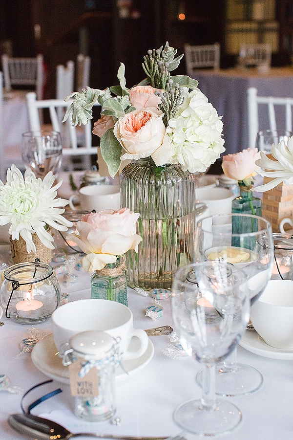 peach mint green wedding flowers centrepieces