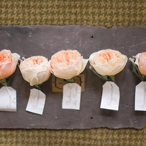 peach rose buttonholes on slate passion for flowers (2)