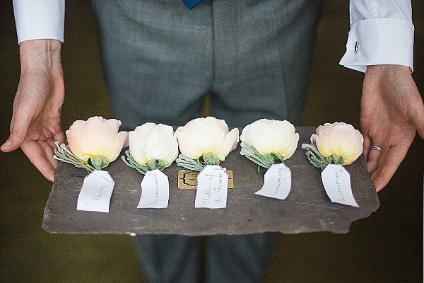 peach rose buttonholes on slate passion for flowers