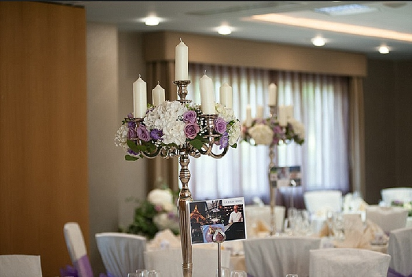 purple wedding flowers Mallory Court tall centrepieces candelabra Passion for Flowers Florists
