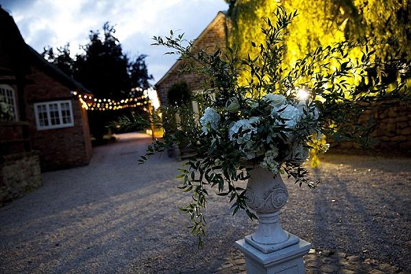stone urn wedding outside