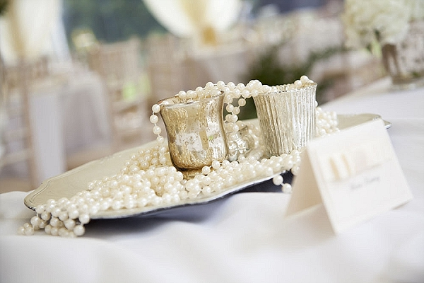 wedding top table mercury silver candle holders pearls