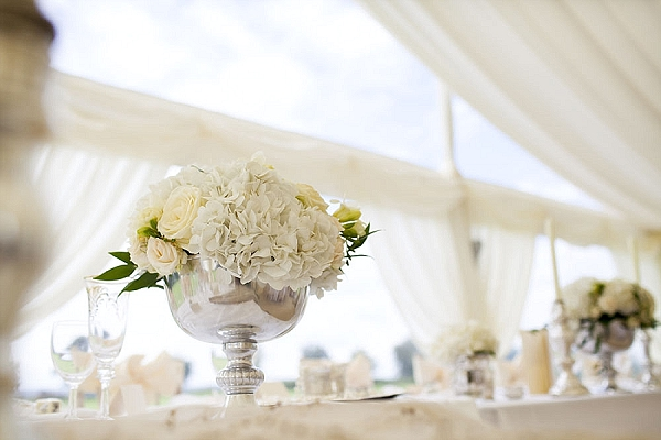 white rose hydrangeas footed vases top table wedding flowers