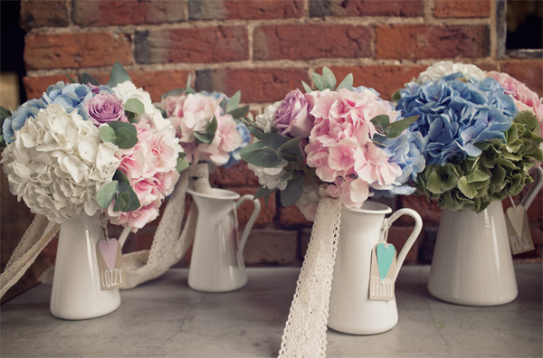 bridesmiads bouquets pink blue green hydranges roses