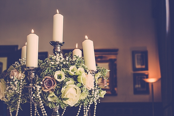 centrepieces candelabra wroxall abbey wedding flowers vintage glamour main house