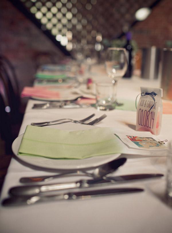 coloured napkins for water colour wedding theme