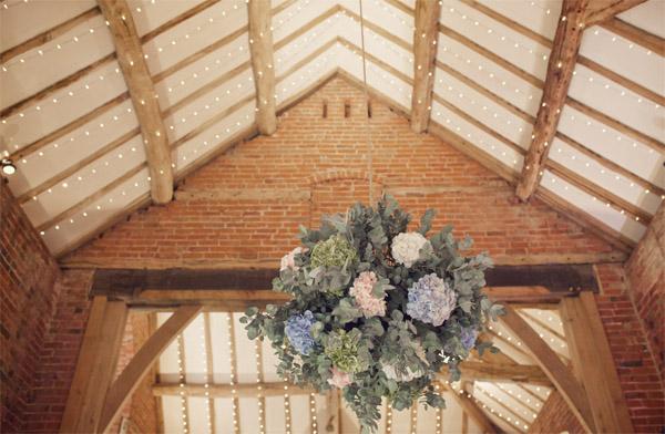 hanging flower balls shustoke farm barns summer wedding florist passion for flowers