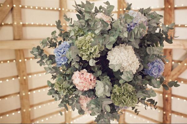 hanging flowers pulley shustoke farm barns summer wedding florist passion for flowers
