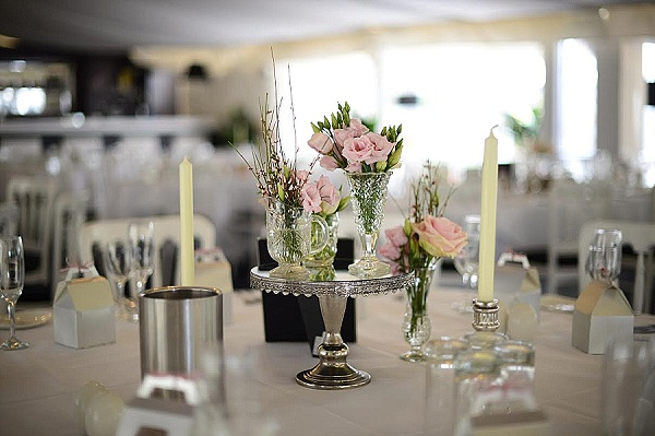 pink wedding flowers in crystal vases centrepieces moxhull hall