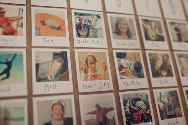 polaroid photos wedding table plan