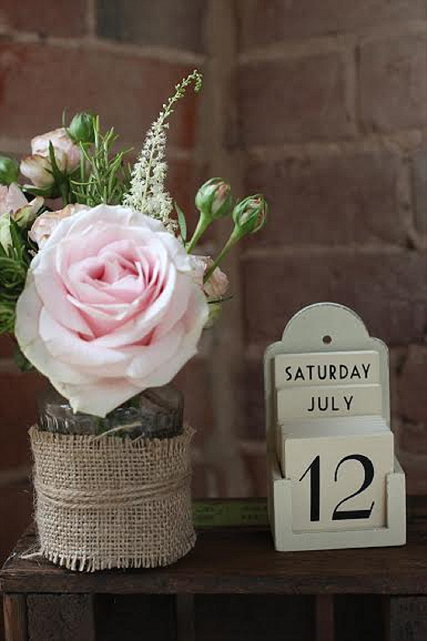 shustoke farm barns wedding flowers passion for flowers jam jar hessian with wedding date
