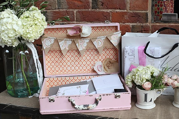 shustoke farm barns wedding flowers passion for flowers vintage suitcase for wedding cards