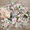 spring wedding bouquets blush pink roses lisianthus, pink broom, texture