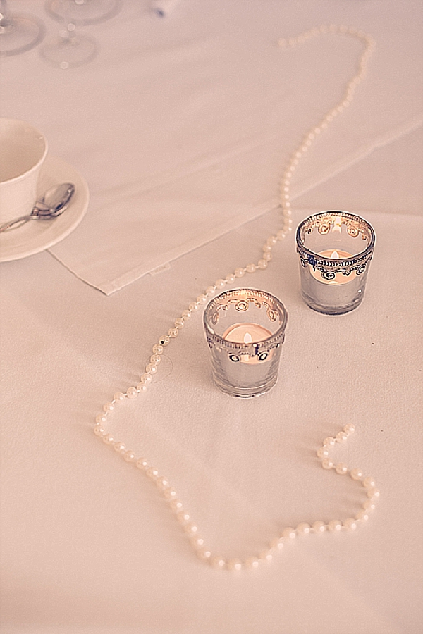 wroxall abbey wedding flowers vintage glamour silver tea light holders votives