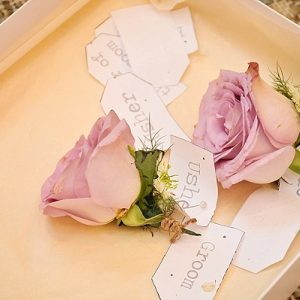 dusky pink rose button holes