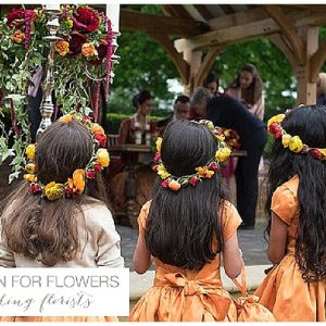 flower crowns bright orange indian wedding flower girls