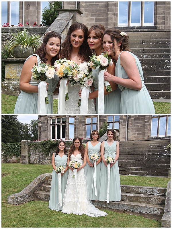 peach wedding bouquets mint green bridesmaids dresses hampton manor passion for flowers