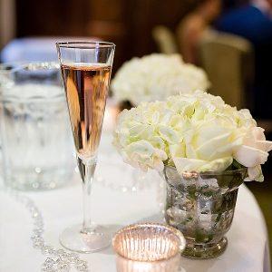 white wedding flowers hydrangeas mercury silver vases