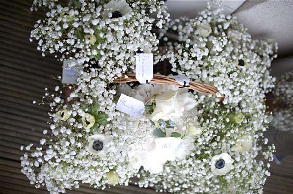 winter wonderland wedding gypsophilia-and-black-and-white-amemone-bouquets-wedding-flowers